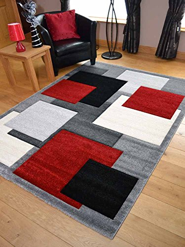 Tempo Silver Red Square Design Thick Quality Modern Carved Rugs Available in 6 Sizes cm x cm