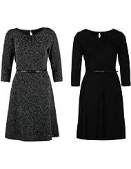 COMMA A-Linie Kleid Abendkleid Waffel- oder Salz-Pfeffer-Look schwarz Gürtel