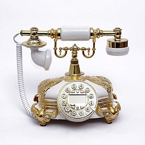 Antique Holz Telefon (Retro telefon,Altmodische telephoneanrufer-idsolid holz kreative heimat - freisprechfunktion-harz material-weiß - 25 * 16 * 20 cm-F)