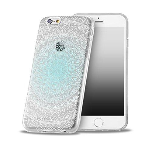 Für iPhone 8 Plus Hülle Silikon von OOH!COLOR® | Schutzhülle Motiv ROZ006 weiß elegant Schmetterling Tasche elastische Handyhülle Transparent Design Case Cover Slim Etui ROZ012 Traumfänger