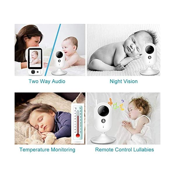 """SONEW Wireless Video Baby Monitor,3.5"""" LCD Digital Screen for Signal Transmission Support Night Vision Two-Way Talk Temperature Sensor Voice Activation Lullabies Multi-Language Sonew 【TEMPERATURE SENSOR】Constantly monitors the temperature in your baby's room and alerts you when it is too hot or too cold.When you find that the temperature of your baby's room is too high or too low, you can add a bedding or reduce the bedding to your baby in time to prevent your baby from getting sick due to temperature. 【TWO-WAY TALK】Built-in advanced microphone and speaker for clear two-way audio conversations. Not only can you see what's happening, but also send voice commands, and talk with your little one. Transmitting distance is up to 1,000 ft.Parents must hope to witness each stage of their child's growth. Talking is a very important stage. With this product, you can communicate with your baby at any time, hear your baby's voice, and witness your baby's growth. 【SOUND-ACTIVATED LED LIGHTS 】Allows you to see how much noise your baby is making in case he/she is crying.You must hope to stay with your baby all the time, but because of work or some other reason, you may not be able to stay with your baby all the time, but with this product, you can observe every detail of the baby, once the baby is crying You can find it by activating the LED light. 3"""