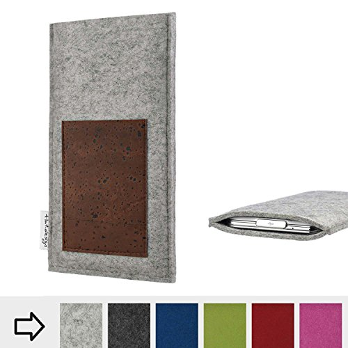 flat.design Tablethülle Evora mit Scheckkartenfach für Kiano Slimtab 8 MS - Schutz Case Etui Filz Made in Germany in Hellgrau mit Korkstoff braun - passgenaue Tablet Tasche für Kiano Slimtab 8 MS