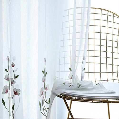 BAI curtain Pflanze Blume Stickerei Gardinen Polyester Weißes Grundgarn Fertiger Vorhang Tüll Vorhänge zum Wohnzimmer Schlafzimmer Allgleiches Fenstervorhänge Single Panel hook-1panel(300 * 270cm) - Vorhang-panels Jungen