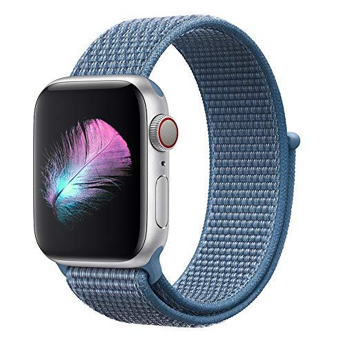 HILIMNY Für Apple Watch Armband 38MM, Nylon Armband Ersatz für iwatch Series 3, Series 2, Series 1 (Cape Cod Blau, 38MM)