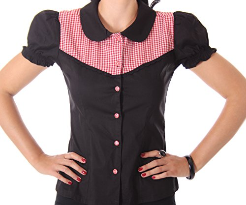 SugarShock Kaja Rockabilly 50er Pin Up retro Gingham Karo Bubikragen Bluse -