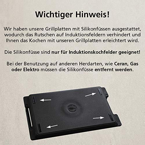 512Yn07YnYL - Eurolux Aluminium-Guss Grillplatte für INDUKTION (mit Seitengriffe) 41 x 24 x 2,5 cm in Premium Qualität (A Ware, Neueste Serie) 1 Monat Geldzurückgarantie! - Made in Germany - PFOA-Free