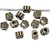 CXLD aprox. 50 cuentas espaciadoras de color bronce con forma de huella de oso para pulsera de abalorios