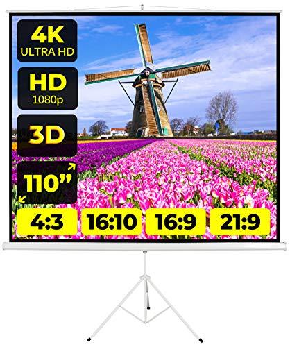 Schermo Proiezione Treppiede (110 Pollici) 200cm Multi Formato 4:3 16:9 16:10 200x200 2 Metri Leggero Schermo Proiettore 2mt Telo Proiettore Schermo Bordi Schermo Videoproiezione 2 mt 4K HD 3D