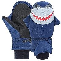7-Mi Kids Navy Water-resistant Ski Gloves Warm Outdoor Sports Mitten,Windproof Nylon Winter Shark Mitten for 3-6Y Girls Boys