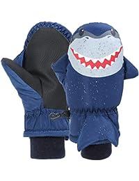 7-Mi Niños Navy Guantes de esquí Resistentes al Agua Calentador para Deportes al Aire Libre, Nylon a Prueba de Viento Winter Shark Mitten para 3-6Y Girls Boys