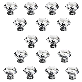 IGNPION 16X40mm Diamond Cut Clear Crystal Glass Kitchen Drawer Door Knob Cupboard Pull Handle Hardware for Bedroom Furniture, Bedside Cabinet, Dresser Unit and Chest