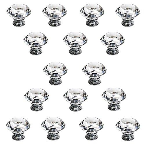 IGNPION 16X40mm Diamant Cut Klar Kristall Glas Küche Schublade Türgriff Schrank Pull Griff Hardware für Schlafzimmermöbel, Nachttisch, Kommode und Kommode (Schrank Türgriffe Klar)