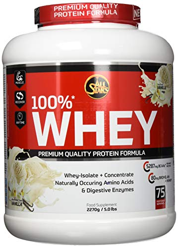 All Stars 100{a62b1260b681c4b7c6dfd8ad4339a4261faa8b954fc564cd221fd48763ae102d} Whey Protein, Vanille, 1er Pack (1 x 2270 g)