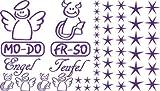 Autoaufkleber Sticker Aufkleber Set für Auto Schriftzug Engel Mo-Do Fr-So Teufe (403 hellviolett)
