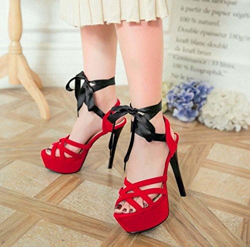 NobS Impermeabili della piattaforma gli alti sandali tacco Open Toe calza il formato di grandi dimensioni 40-43 cinturini alla caviglia Red