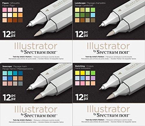 Preisvergleich Produktbild Spectrum Noir Illustrator Twin-Ende Künstler Craft Pen-Set–alle 4Packungen