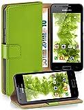 moex Samsung Galaxy S2 | Hülle Grün mit Karten-Fach 360° Book Klapp-Hülle Handytasche Kunst-Leder Handyhülle für Samsung Gala