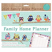 The Home Fusion Company 2020 A3 Family Organiser Month To View 5 Columns Owls Or Butterflies