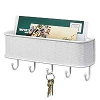 mDesign Wall Mounted Key Holder & Letter Basket - Wall Letter Holder with 5 Key Hooks - Key Rack and Letter Holder - White
