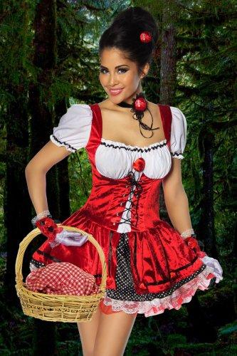 Rotkäppchenkostüm  - rot/schwarz/weiß ()