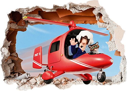 Image of Postman Pat Helicopter 3D Hole Wall Art Printed Vinyl Sticker Decal Childrens Bedroom (SS40111) (Large 600mm x 425mm)