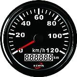 GPS Tacho Tachometer Speedometer Geschwindigkeitsmesser NEU scwarz m. schwarzem Ring Boot Auto Oltimer … (0-120 km/h)