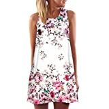 ESAILQ Damen Vintage Sommerkleid Traeger mit Flatterndem Rock Blumenmuster Frauen Rundhals Casual Loose T-Shirt Kleid(XXXL,Weiß)