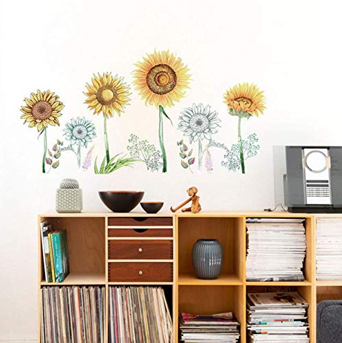 Luzhenyi Simulation Hand Painted Sunflower Wall Stickers Diy Baseboard Corridor Living Room Bedroom Wardrobe Garden Nursery Decor Mu 122X63Cm -