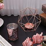 Wanfor 3D Geometrischer Kerzenhalter aus Metall für Hochzeit, Heimdekoration, 3 Farben, Eisen, Gold, Einheitsgröße - 2