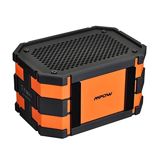 Altavoz Bluetooth Estéreo,Mpow Altavoz Ducha/Baño Portatil IPX65 Impermeable con Radiador de Graves y A2DP/AVRCP ,Batería de 1000 mAh,5W de Potencia para iPhone 7/6/6s/Plus/SE,iPad y Otro Android Dispositivo-Color Naranja
