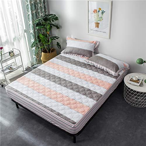 SUYUN Extra elastischer und widerstandsfähiger Matratzenbezug/Matratzenüberzug,Einfarbige Stickerei Stickerei - Silbergrau FULL138 * 190 * 40