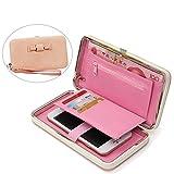 Aeeque Women Wallet, Luxury Large Capacity Ladies Girls Phone Case Handbag Stylish Purse for iPhone 5 5S SE/6 6S plus/7 7 plus/Samsung J3/S7 S7 Edge/A3/A5/Huawei P8 Lite/P9 Lite - Cherry Pink