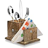 Wood Art Store Wooden Cutlery And Tissue Paper Holder/Multipurpose Stand
