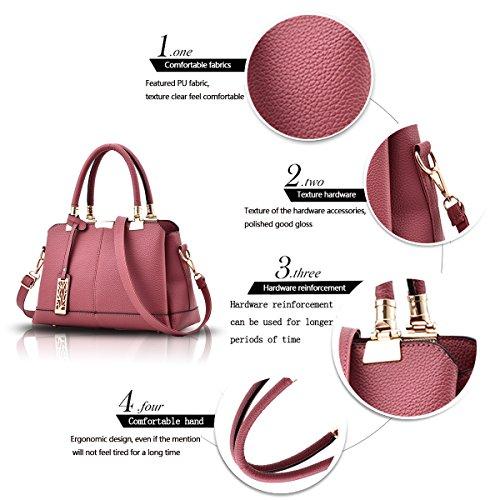 Tisdaini Il raccoglitore elegante del sacchetto di spalla della borsa delle donne tre strati delle borse molli della borsa del sacchetto dell'unità di elaborazione di modo Polvere di gomma