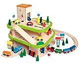 Auto Garage / Parkhaus - mit 3 Ebenen aus Holz - incl. Auto + Figuren - Autos - Holzeisenbahn / Eisenbahn - passend mit Schienensystem - paßt zu allen gängigen Schienen - Holzgarage Eisenbahnschienen / Schienen Autogarage - Parkgarage
