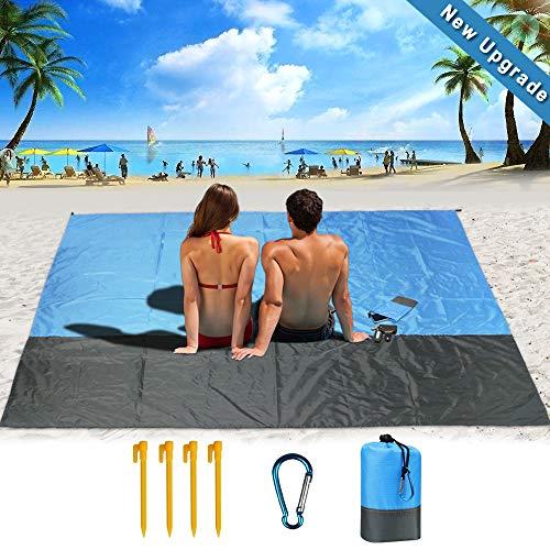Guenx Kompaktes Picknickdecke 210 x 200 cm, Picknickdecke Outdoor Wasserdicht Sandabweisend Picknickmatte, Stranddecke Weiches und Schnell Trocknendes Nylon - Ideal für Reisen, Wandern und Festivals