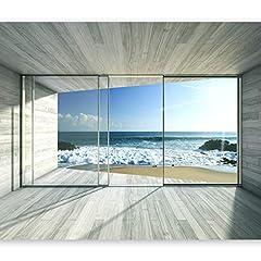Idea Regalo - murando – Fotomurali 400x280 – Carta da parati sulla fliselina - Carta da parati in TNT - Quadri murali XXL - Fotomurale - mare natura paesaggio finestra c-A-0084-a-c