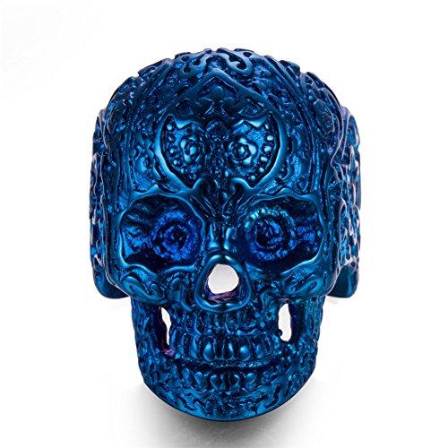 AUMRET Halloween titanio acero hombres cráneo personalidad azul anillo (12)