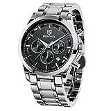 BENYAR Reloj de Pulsera Hombre   Reloj de Cuarzo analógico de Acero Inoxidable con cronógrafo   30M Reloj Resistente al Agua y a los arañazos - Caja de Plata con Esfera Negra