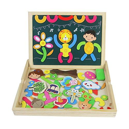 TONZE Lavagna Magnetica per Bambini Puzzle Legno Magnetico lavagna double face Gioco e Giocattoli per Natale 3 4 Anni