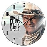 Unbekannt Edle Glas Wanduhr John Wayne 34cm Cowboy Western Indianer Uhr
