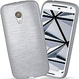 moex Motorola Moto G2 | Hülle Silikon Silber Brushed Back-Cover TPU Schutzhülle Ultra-Slim Handyhülle für Motorola Moto G 2. Generation Case Dünn Silikonhülle Rückseite Tasche
