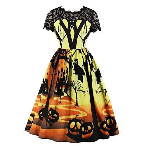 Frauen Retro Dark Halloween Kürbis Lampe Print Stitching Spitze Tube Top Dress