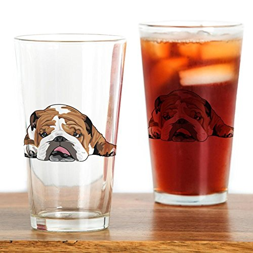 CafePress - Teddy the English Bulldog Drinking Glass - Pint Glass, 16 oz. Drinking Glass by CafePress