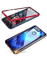 Alsoar Adsorción Magnética Funda Compatible con Samsung Galaxy J6 2018 Estuche Vidrio Templado Transparente Trasera Cubierta Marco de Metal 360 Grados Protección Carcasa (Rojo)