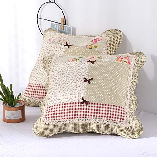 Unimall Patchwork Zierkissenbezug 2er Set Kissenhülle für Sofakissen aus Baumwolle Idyllische Kissenbezüge 45 x 45 cm