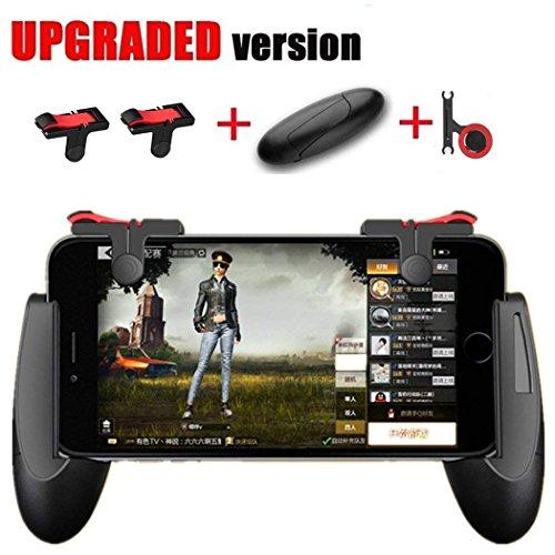 Mando de juegos móvil [versión actualizada] – WeeDee Fortnite PUBG Mando móvil con gatillo de juegos, agarre de juego y joysticks de juego para teléfonos Android iOS de 4,5-6,5 pulgadas