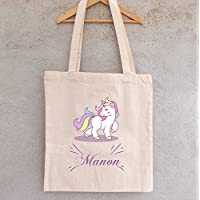 Tote Bag Licorne à personnaliser, sac licorne, sac enfant licorne, sac coton, tote bag personnalisable, sac prénom, sac bibliothèque