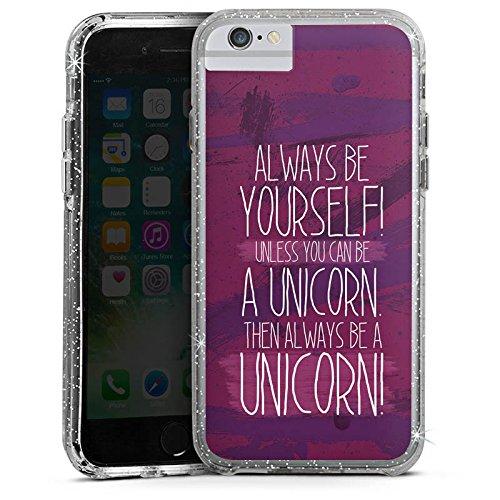 Apple iPhone 6 Bumper Hülle Bumper Case Glitzer Hülle Einhorn Unicorn Lustig Bumper Case Glitzer silber