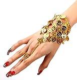 Demarkt Bauchtanz Armband Armreif Armbänder Armschmuck mit Ringe Durchmesser von etwa 7cm Goldenfarbe